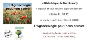 """Conférence sur livre de Olivier Le Naire, """"L'Agroécologie peut nous sauver"""" , coécrit avec Marc Dufumier @ Salle de la Terrasse"""